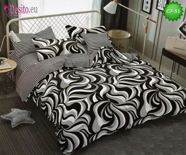 Спално бельо от 100% памук, 6 части - двулицево, с код C7-51