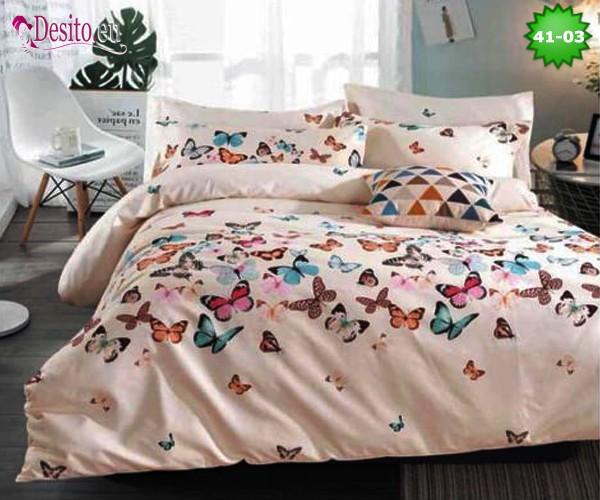 Спално бельо от 100% памук, 6 части - двулицево, с код 41-03
