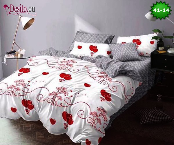 Спално бельо от 100% памук, 6 части - двулицево, с код 41-14