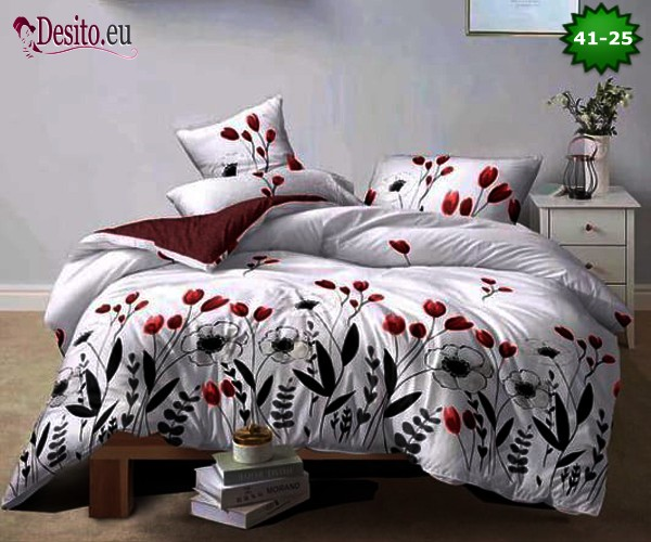 Спално бельо от 100% памук, 6 части - двулицево, с код 41-25
