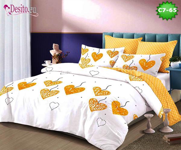 Спално бельо от 100% памук, 6 части - двулицево, с код C7-65