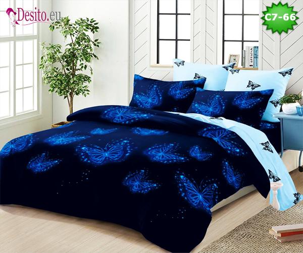 Спално бельо от 100% памук, 6 части - двулицево, с код C7-66