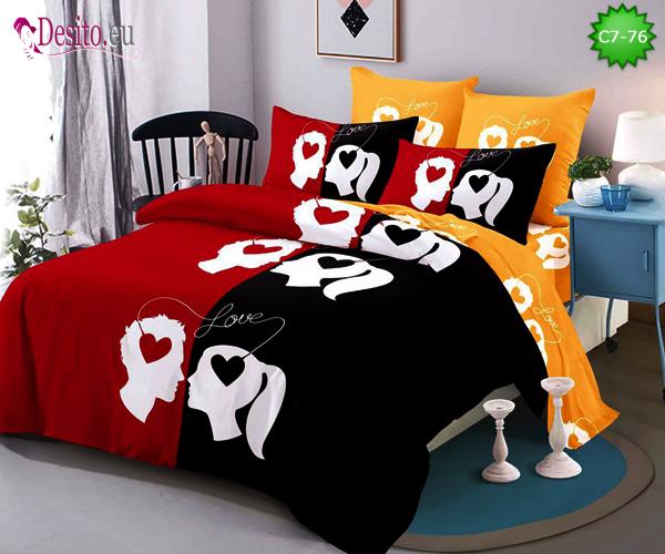 Спално бельо от 100% памук, 6 части - двулицево, с код C7-76