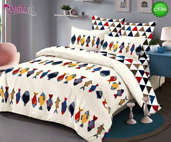 Спално бельо от 100% памук, 6 части - двулицево, с код C7-80