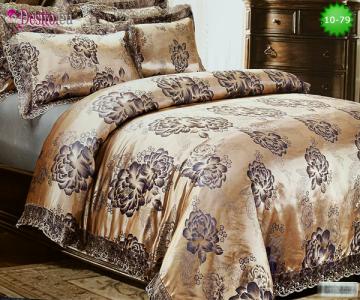 Луксозно спално бельо от памук-сатен с жакард 10-79