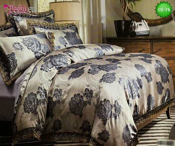 Луксозно спално бельо от памук-сатен с жакард 10-76