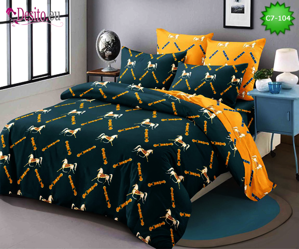 Спално бельо от 100% памук, 6 части - двулицево, с код C7-104