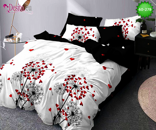 Спално бельо от 100% памук, 6 части, двулицево с код 60-278