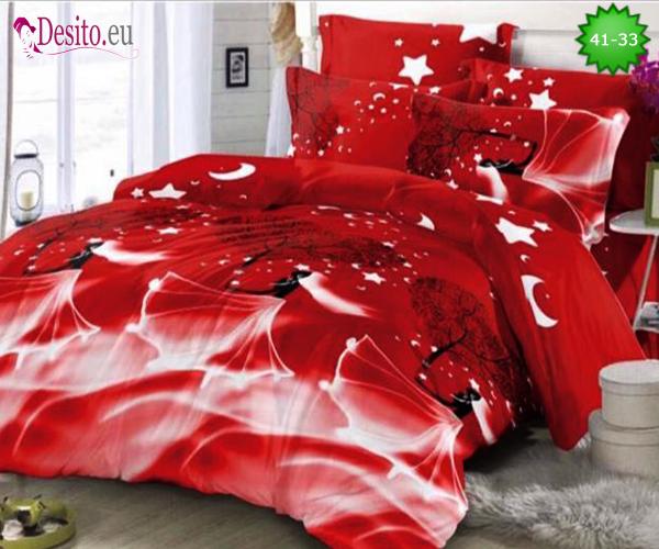 Спално бельо от 100% памук, 4 части - двулицево, с код 41-33