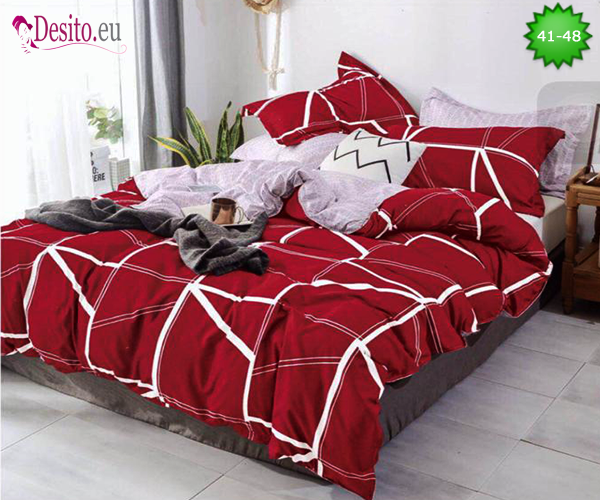 Спално бельо от 100% памук, 4 части - двулицево, с код 41-48