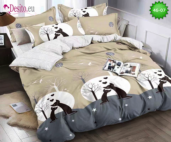 Спално бельо от 100% памук, 4 части - двулицево, с код 46-07