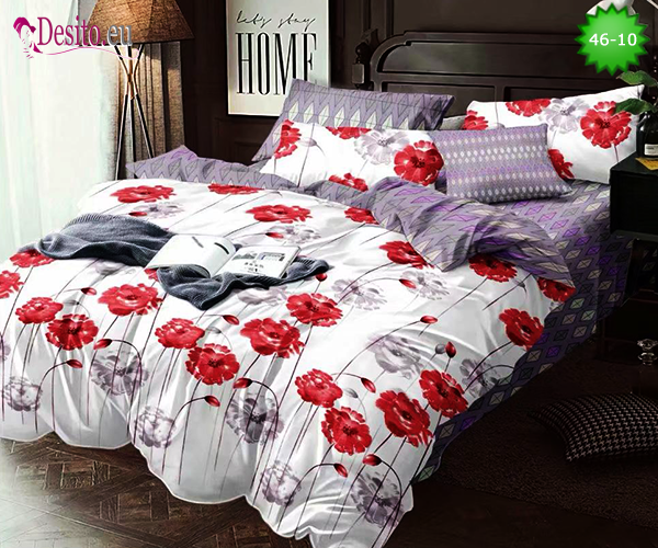Спално бельо от 100% памук, 4 части - двулицево, с код 46-10