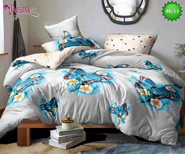 Спално бельо от 100% памук, 4 части - двулицево, с код 46-11