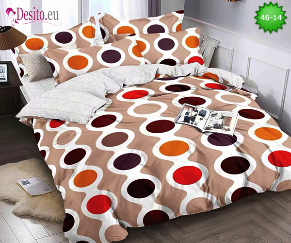 Спално бельо от 100% памук, 4 части - двулицево, с код 46-14