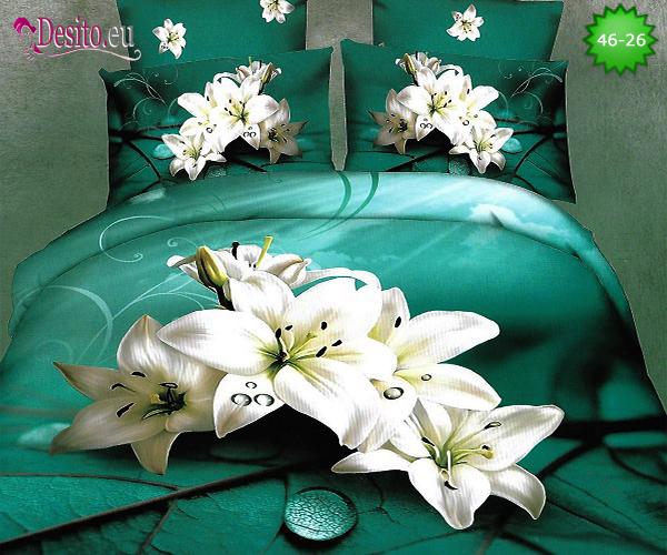 Спално бельо от 100% памук, 4 части - двулицево, с код46-26