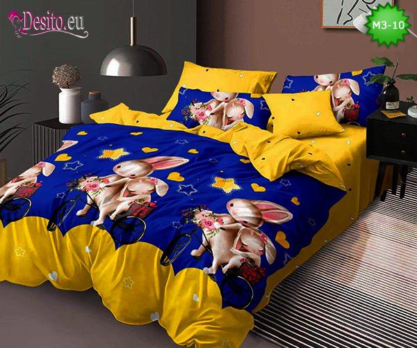 Спално бельо от 100% памук, 6 части - двулицево, с код M3-10