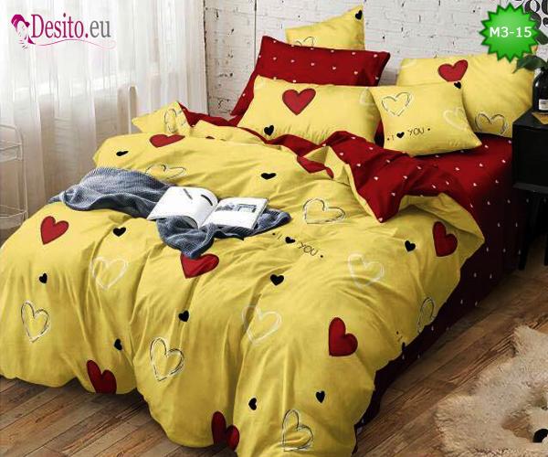 Спално бельо от 100% памук, 6 части - двулицево, с код M3-15