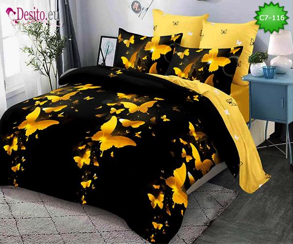 Спално бельо от 100% памук, 6 части - двулицево, с код C7-116