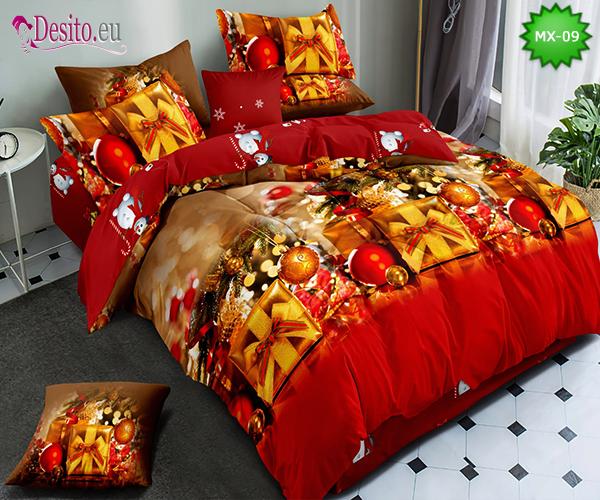 Коледно спално бельо от 100% памук, 6 части - двулицево, с код MX-09