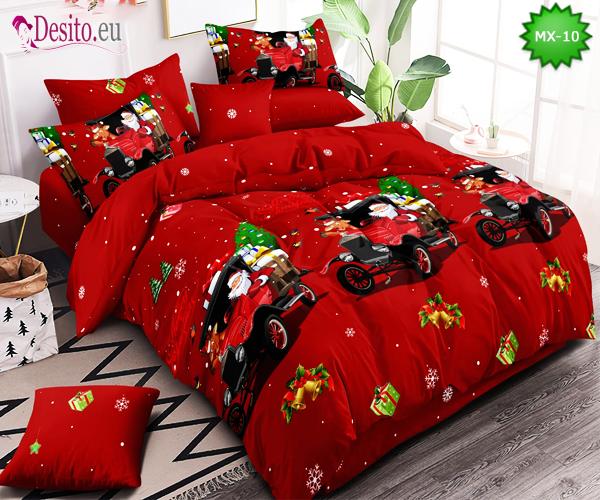 Коледно спално бельо от 100% памук, 6 части - двулицево, с код MX-10
