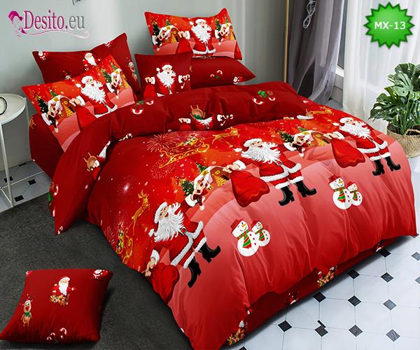 Коледно спално бельо от 100% памук, 6 части - двулицево, с код MX-13