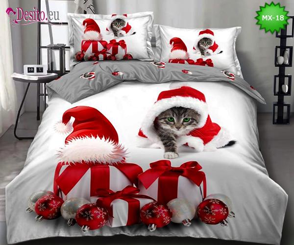 Коледно спално бельо от 100% памук, 6 части - двулицево, с код MX-18