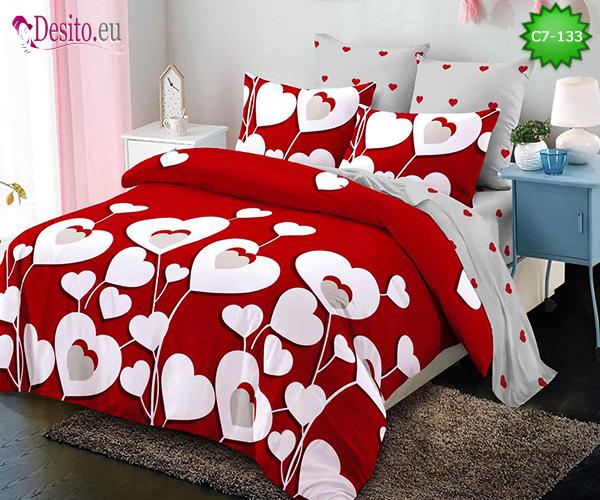 Спално бельо от 100% памук, 6 части - двулицево, с код C7-133