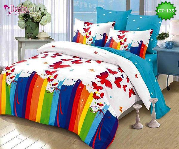 Спално бельо от 100% памук, 6 части - двулицево, с код C7-139
