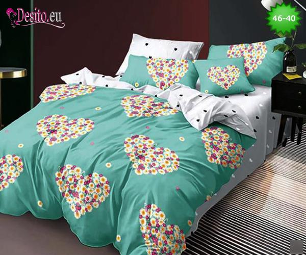 Спално бельо от 100% памук, 6 части - двулицево, с код 46-40