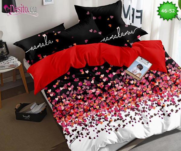 Спално бельо от 100% памук, 6 части - двулицево, с код 46-52
