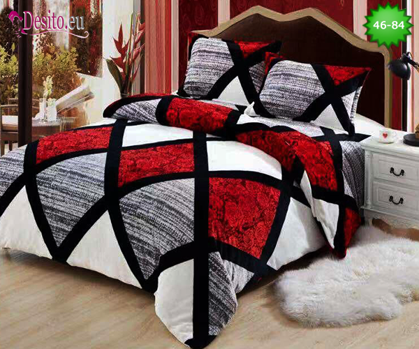 Спално бельо от 100% памук, 6 части - двулицево, с код 46-84