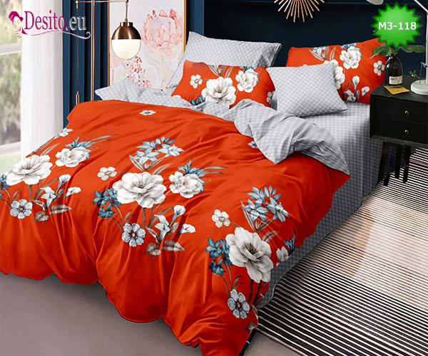 Спално бельо от 100% памук, 6 части - двулицево, с код M3-118