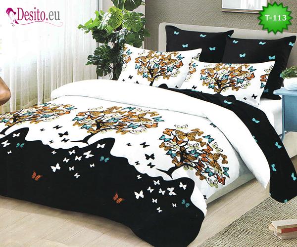 Двулицево спално бельо от 100% памук, 6 части с код T-113