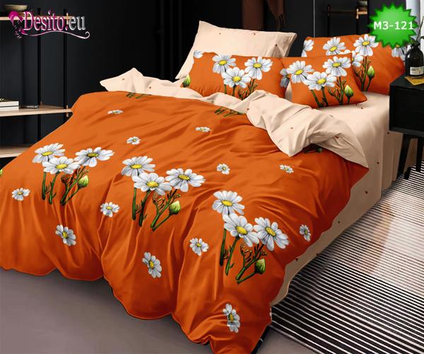 Спално бельо от 100% памук, 6 части - двулицево, с код M3-121