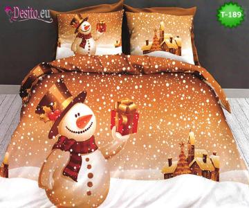 Коледно спално бельо от 100% памук, 6 части - двулицево, с код T-188