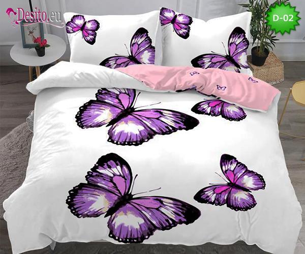5Д Спално бельо от 100% памук, 4 части - двулицево, с код D-02