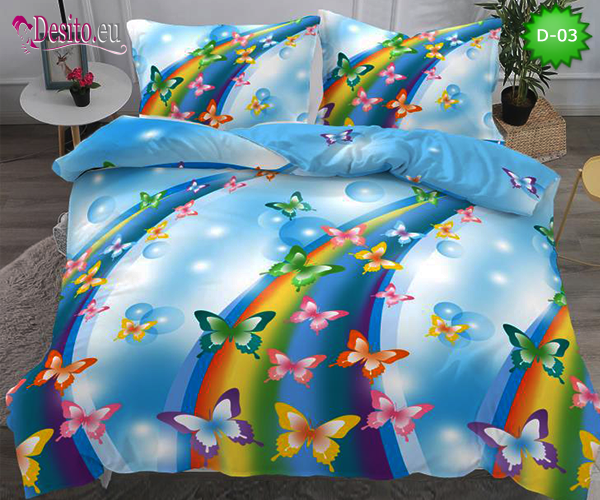 5Д Спално бельо от 100% памук, 4 части - двулицево, с код D-03