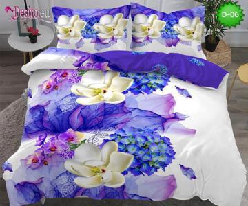 5Д Спално бельо от 100% памук, 6 части - двулицево, с код D-06