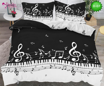5Д Спално бельо от 100% памук, 6 части - двулицево, с код D-07