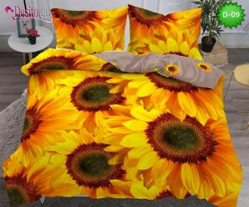 5Д Спално бельо от 100% памук, 6 части - двулицево, с код D-09