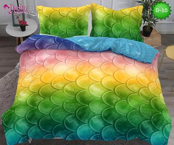 5Д Спално бельо от 100% памук, 6 части - двулицево, с код D-10