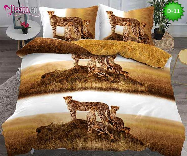 5Д Спално бельо от 100% памук, 4 части - двулицево, с код D-11