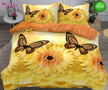 5Д Спално бельо от 100% памук, 6 части - двулицево, с код D-12