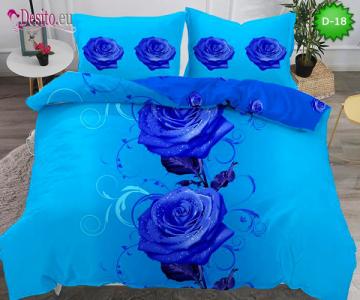 5Д Спално бельо от 100% памук, 4 части - двулицево, с код D-18