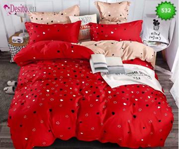 Спално бельо от 100% памук, 6 части - двулицево, с код 531