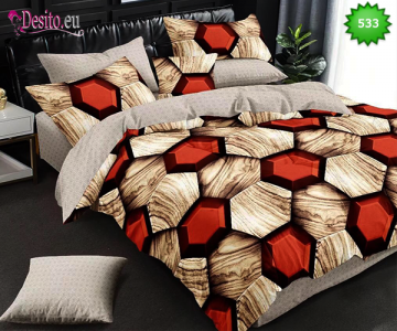 Спално бельо от 100% памук, 6 части - двулицево, с код 533