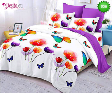 Спално бельо от 100% памук, 6 части - двулицево, с код 538