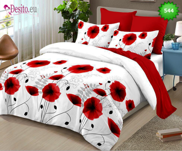 Спално бельо от 100% памук, 6 части - двулицево, с код 544