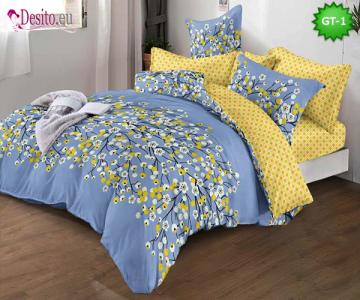 Спално бельо от 100% памук, 6 части и чаршаф с ластик с код GT-01