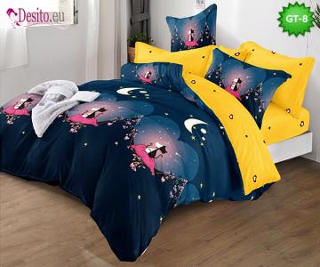 Спално бельо от 100% памук, 6 части и чаршаф с ластик с код GT-08